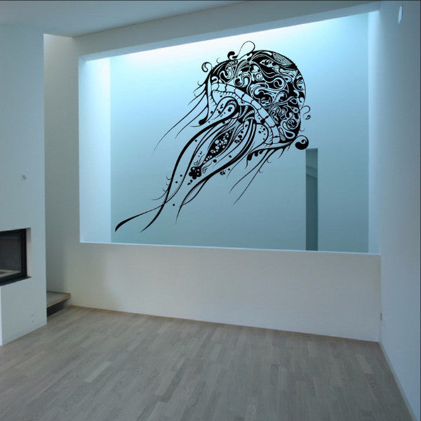 Abstract Jellyfish Vinyl Wall Decal - Extra Large Jellyfish 22085 - Cuttin' Up Custom Die Cuts - 1