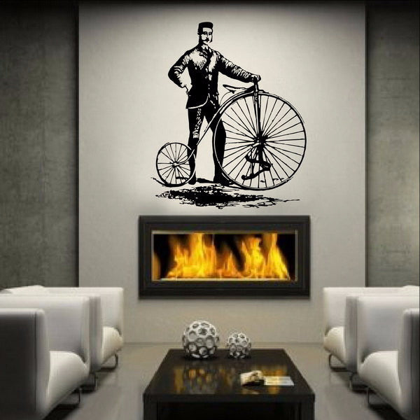 Antique Vintage Style Bicycle and Man Large Vinyl Wall Decal 22087 - Cuttin' Up Custom Die Cuts - 1