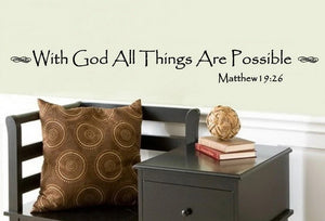 With God All Things Are Possible Vinyl Wall Decal 22063 - Cuttin' Up Custom Die Cuts - 2