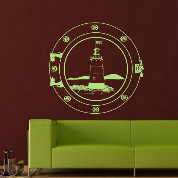 Nautical Wall Decal Lighthouse in a Porthole 22095 - Cuttin' Up Custom Die Cuts - 1