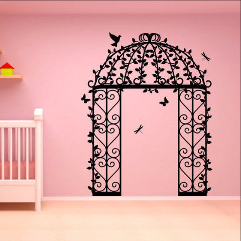 Garden Gazebo with Birds Butterflies Vines and Dragonflies Vinyl Wall Decal 22130 - Cuttin' Up Custom Die Cuts - 1