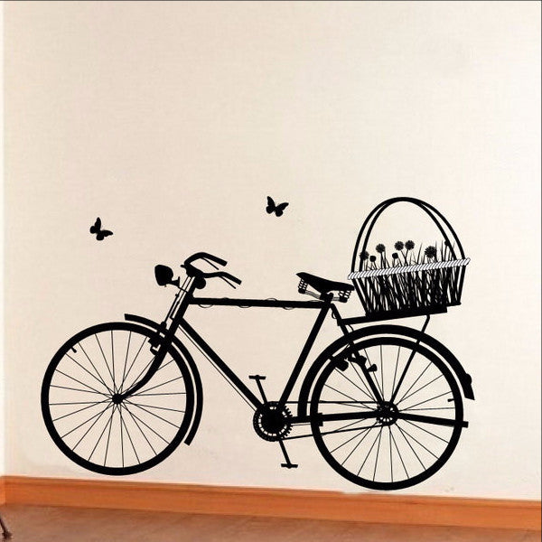 Bicycle with Flower Basket and Butterflies Vinyl Wall Decal 22129 - Cuttin' Up Custom Die Cuts - 1