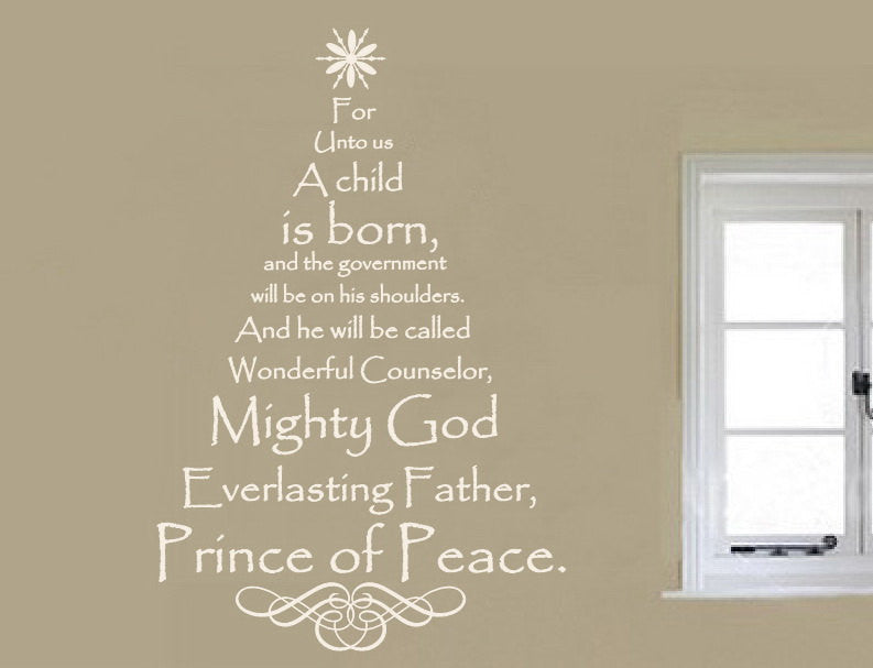 Merry Christmas Quote Wall Art Decal: Scripture Christmas Tree Vinyl Wall Decal