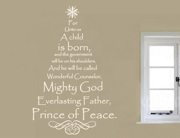 Scripture Christmas Tree Vinyl Wall Decal - Names of Jesus  22134 - Cuttin' Up Custom Die Cuts - 2