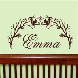 Personalized Woodland Branch Arch With Squirrels and Birds Vinyl Wall Decal 22212 - Cuttin' Up Custom Die Cuts - 1