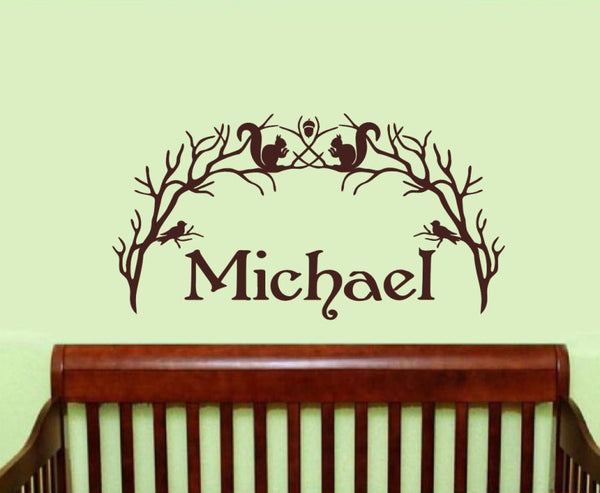 Personalized Woodland Branch Arch With Squirrels and Birds Vinyl Wall Decal 22212 - Cuttin' Up Custom Die Cuts - 2