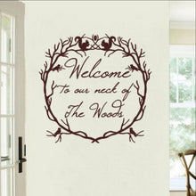 Load image into Gallery viewer, Welcome to Our Neck of the Woods Woodland Wreath Vinyl Wall Decal 22214 - Cuttin' Up Custom Die Cuts - 1