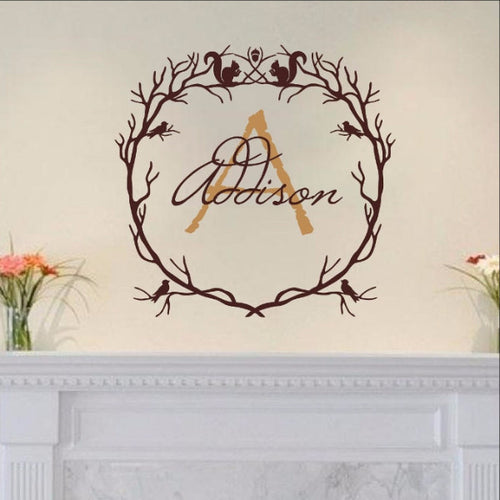 Monogram Woodland Branch Wreath With Squirrels and Birds Vinyl Wall Decal 22213 - Cuttin' Up Custom Die Cuts - 1