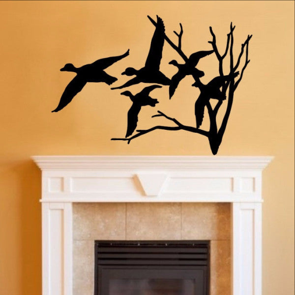 Ducks in Flight and Bare Tree Single Layer Vinyl Wall Decal 22217 - Cuttin' Up Custom Die Cuts - 1