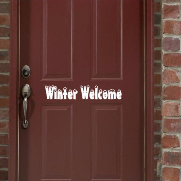 Winter Welcome Vinyl Door Decal 22236 - Cuttin' Up Custom Die Cuts - 1