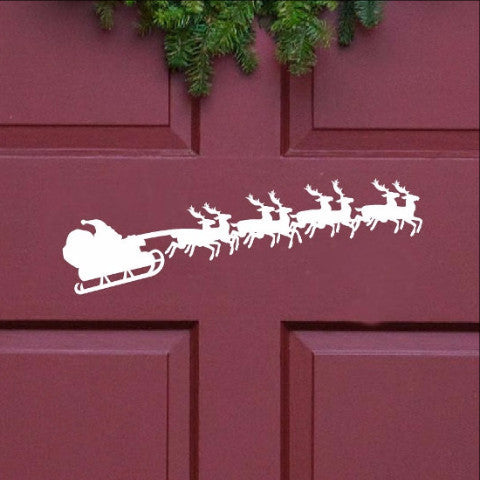 Santa and Sleigh Christmas Removable Vinyl Door Decal 22240 - Cuttin' Up Custom Die Cuts - 1