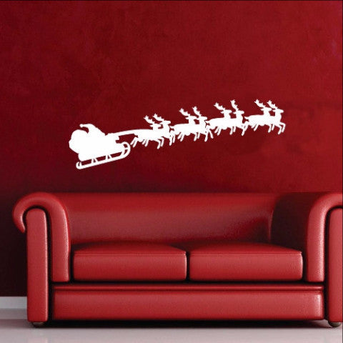 Santa and Sleigh Christmas Removable Vinyl Wall Decal 22238 - Cuttin' Up Custom Die Cuts - 1