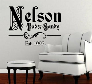 Ornate Family Name Vinyl Decal with Established Year Vinyl Wall Decal Name Style 1 22257 - Cuttin' Up Custom Die Cuts - 2