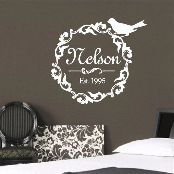 Family Name Decal - Damask Wreath With Bird Wall Decal 3 22256 - Cuttin' Up Custom Die Cuts - 1
