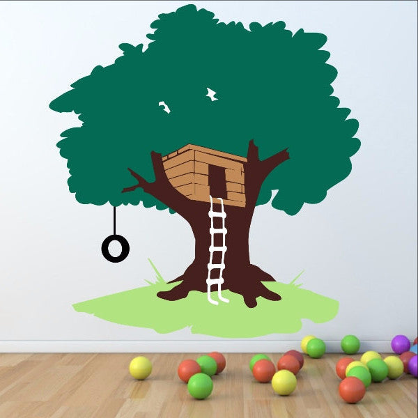 Tree House with Tire Swing Large Nursery Playroom  Mural 22258 - Cuttin' Up Custom Die Cuts - 1