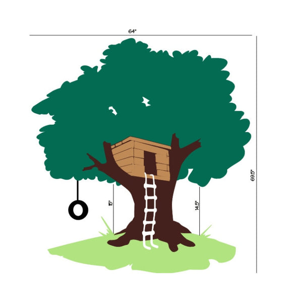 Tree House with Tire Swing Large Nursery Playroom  Mural 22258 - Cuttin' Up Custom Die Cuts - 2