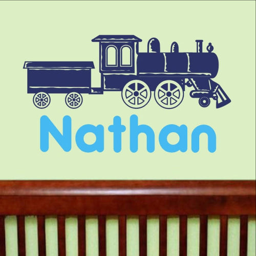 Train With Name Vinyl Wall Decal 22263 - Cuttin' Up Custom Die Cuts - 1
