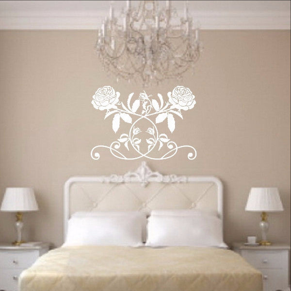 Rose Vine Vinyl Wall Decal 22267 - Cuttin' Up Custom Die Cuts - 1