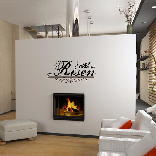 He Is Risen Christian Vinyl Wall Decal Style B  22291 - Cuttin' Up Custom Die Cuts - 1
