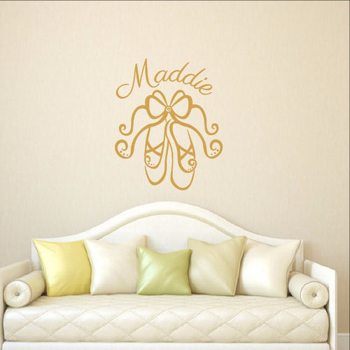 Personalized Ballet Slippers Vinyl Wall Decal 22295 - Cuttin' Up Custom Die Cuts - 1
