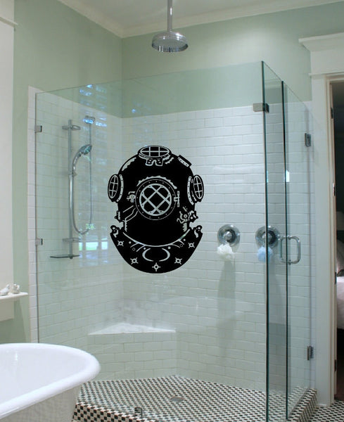 Retro Deep Sea Diving Helmet Vinyl Wall Decal 22097 - Cuttin' Up Custom Die Cuts - 2