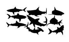 Load image into Gallery viewer, Sharks Vinyl Wall Decal Set of Nine Sharks 22304 - Cuttin' Up Custom Die Cuts - 2