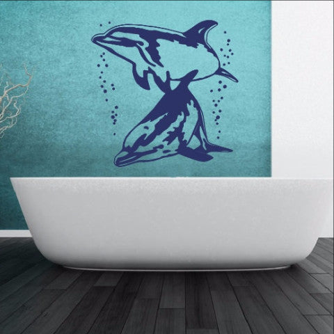 Dolphins With Bubbles Vinyl Wall Decal 22307 - Cuttin' Up Custom Die Cuts - 1