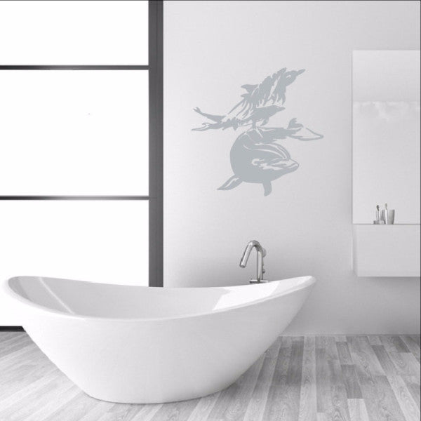 Dolphins Swimming Vinyl Wall Decal 22308 - Cuttin' Up Custom Die Cuts - 1