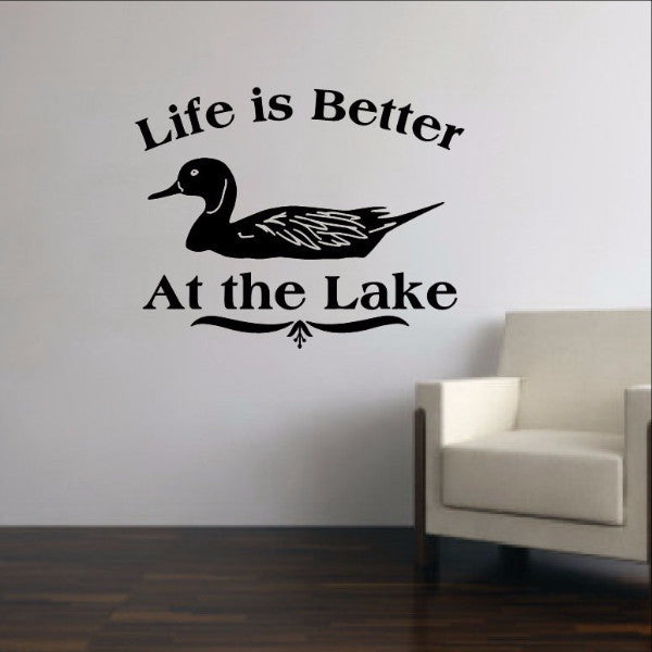 Life is Better at the Lake - Duck Vinyl Wall Decal 22311 - Cuttin' Up Custom Die Cuts - 1
