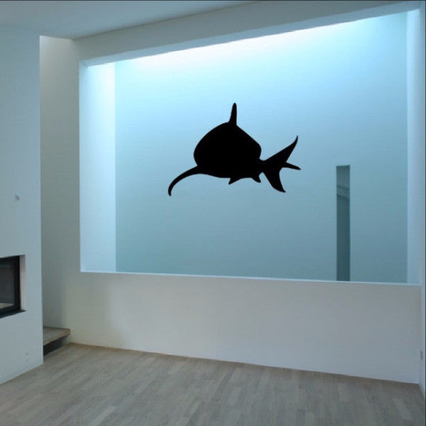 Shark Front Facing Silhouette Vinyl Wall Decal 22320 - Cuttin' Up Custom Die Cuts - 1