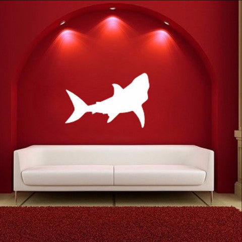 Shark Silhouette Style B Vinyl Wall Decal 22321 - Cuttin' Up Custom Die Cuts - 1