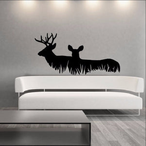 Deer in Grass Style A Vinyl Wall Decal 22326 - Cuttin' Up Custom Die Cuts - 1