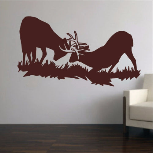 Fighting Deer Style F Vinyl Wall Decal 22331 - Cuttin' Up Custom Die Cuts - 1