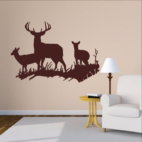 Deer in Grassy Meadow Style D Vinyl Wall Decal 22329 - Cuttin' Up Custom Die Cuts - 1