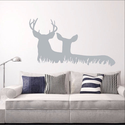 Deer in Grass Style C Vinyl Wall Decal  22328 - Cuttin' Up Custom Die Cuts - 1