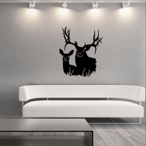 Deer Heads Style J Vinyl Wall Decal 22336 - Cuttin' Up Custom Die Cuts - 1