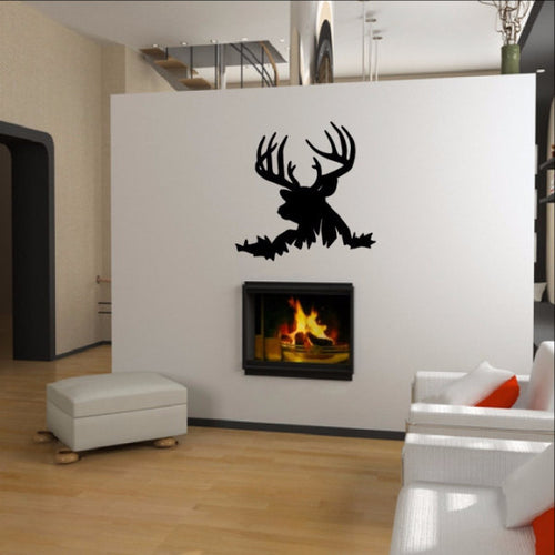 Deer Head Style K Vinyl Wall Decal - Nature Wall Decal 22337 - Cuttin' Up Custom Die Cuts - 1