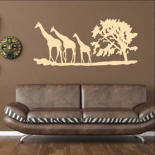 Load image into Gallery viewer, Giraffes and Tree African Savannah Vinyl Wall Decal 22343 - Cuttin' Up Custom Die Cuts - 1