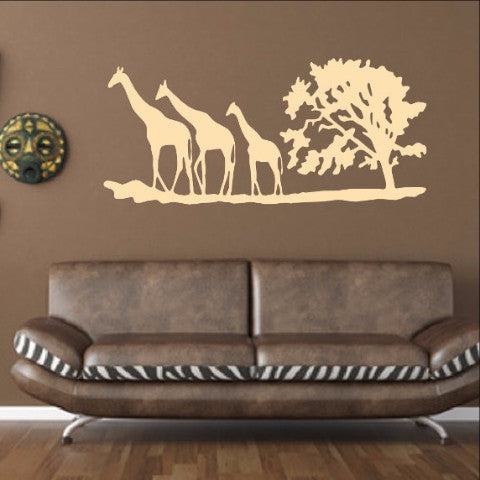 Giraffes and Tree African Savannah Vinyl Wall Decal 22343 - Cuttin' Up Custom Die Cuts - 1
