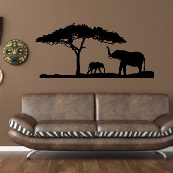 Elephants and Tree African Safari Savannah Vinyl Wall Decal 22344 - Cuttin' Up Custom Die Cuts - 1