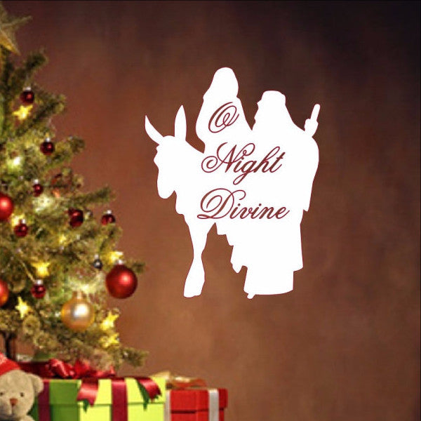 O Night Divine with Mary and Joseph Silhouette Removable Vinyl Wall Decal  22352 - Cuttin' Up Custom Die Cuts - 1