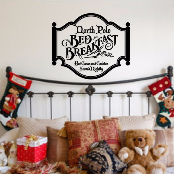 North Pole Bed and Breakfast Christmas Removable Vinyl Wall Decal  22356 - Cuttin' Up Custom Die Cuts - 1