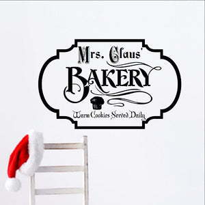 Mrs Claus Bakery Christmas Removable Vinyl Wall Decal  - Christmas Decor 22357 - Cuttin' Up Custom Die Cuts - 1