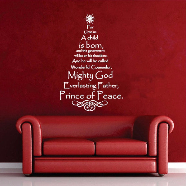 Scripture Christmas Tree Vinyl Wall Decal - Names of Jesus  22134 - Cuttin' Up Custom Die Cuts - 1