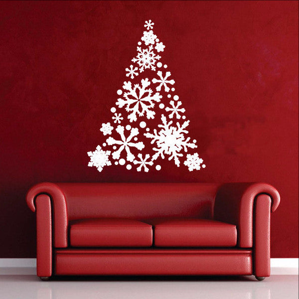 Snowflake Christmas Tree Vinyl Wall Decal 22358 - Cuttin' Up Custom Die Cuts - 1