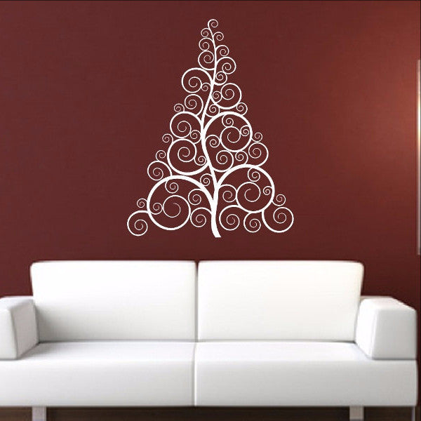 Christmas Tree Style B Swirly Removable Vinyl Wall Decal 22359 - Cuttin' Up Custom Die Cuts - 1