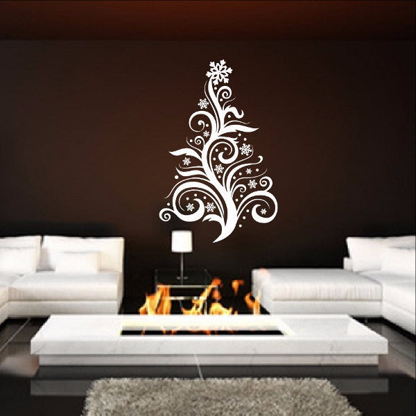 Christmas Tree Style D Swirly Removable Vinyl Wall Decal 22361 - Cuttin' Up Custom Die Cuts - 1
