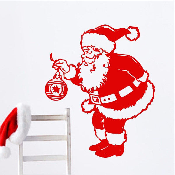 Santa Claus with Ornament Christmas Removable Vinyl Wall Decal 22241 - Cuttin' Up Custom Die Cuts - 1