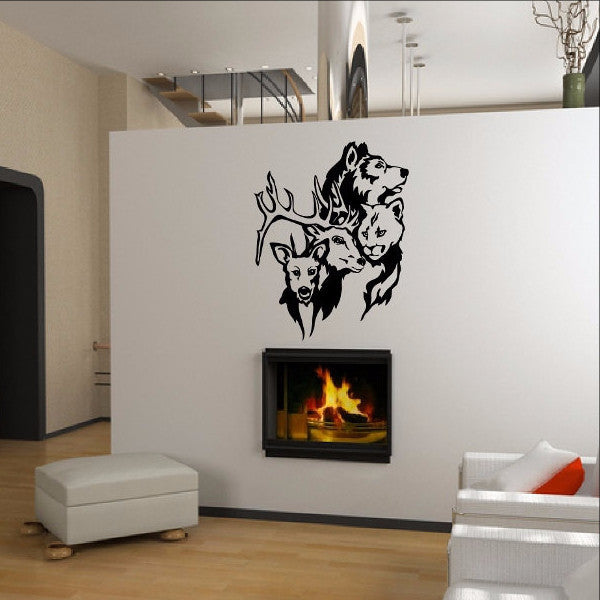 Wild Animals Style A  Wolf Cougar Buck Deer Vinyl Wall Decal 22373 - Cuttin' Up Custom Die Cuts - 1