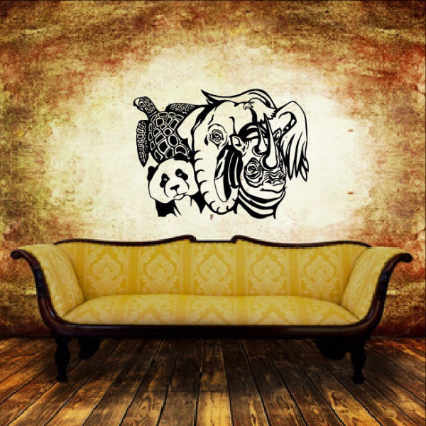 Sea Turtle Panda Elephant Rhino Eagle Wild Animals Style C  Vinyl Wall Decal  22375 - Cuttin' Up Custom Die Cuts - 1